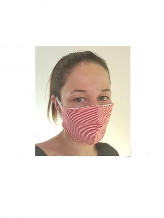 mascherina righe rosse